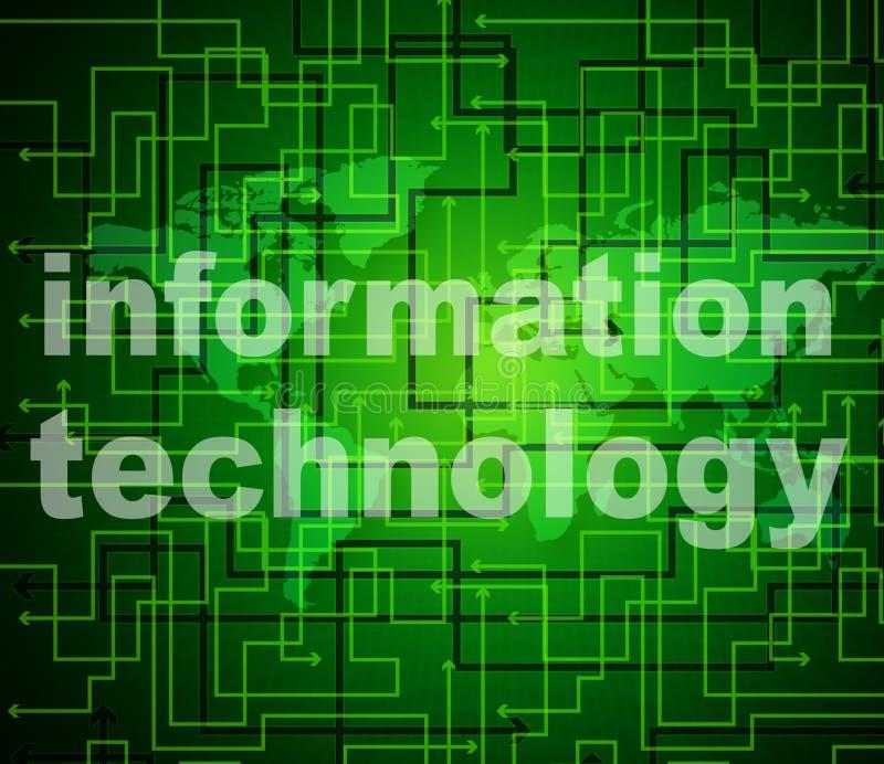Η τεχνολογία πληροφοριών παρουσιάζει τα στοιχεία και υψηλή τεχνολογία βοήθειας διανυσματική απεικόνιση