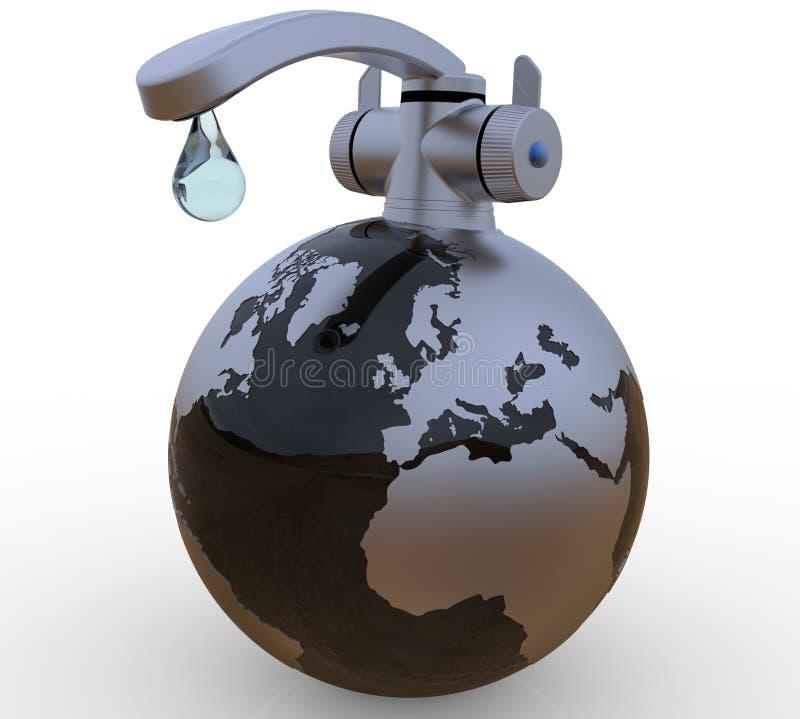 Η τελευταία πτώση του νερού στη γήινη έννοια διανυσματική απεικόνιση