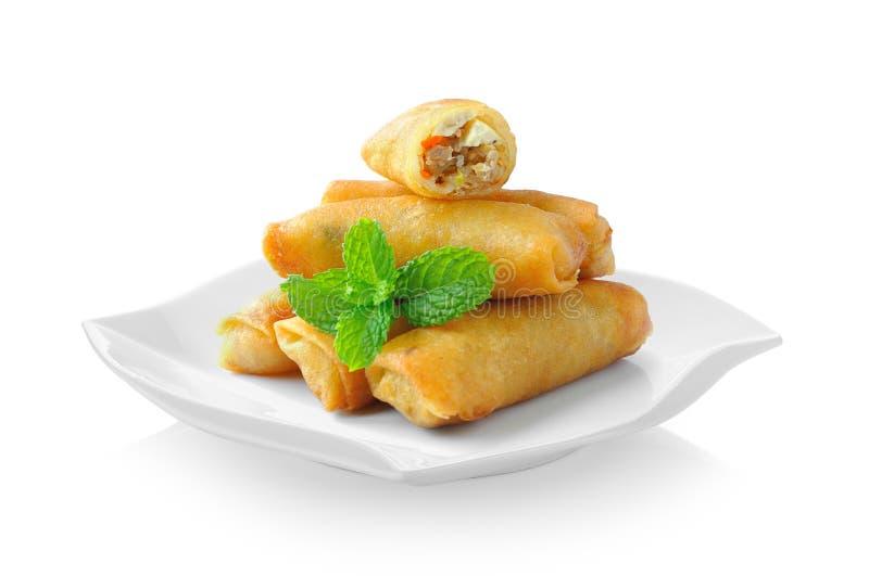 Η τηγανισμένη κινεζική παραδοσιακή άνοιξη κυλά τα τρόφιμα στο κεραμικό πιάτο είναι στοκ φωτογραφία