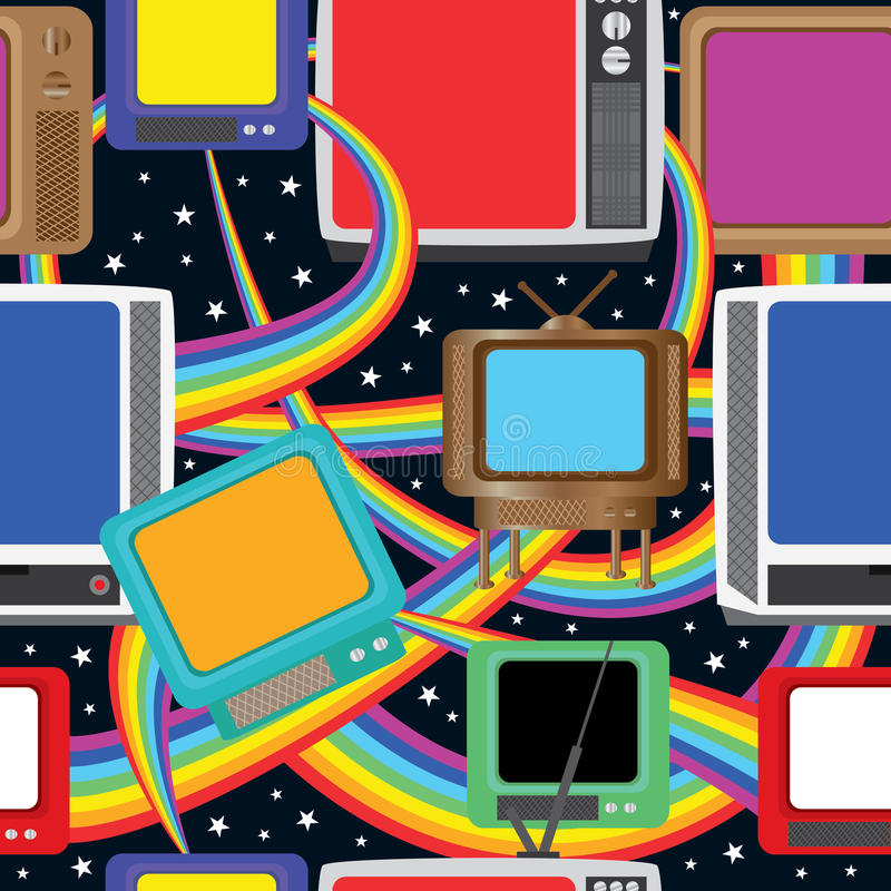 Η τηλεοπτική διασκέδαση φέρνει στα χρώματα άνευ ραφής Pattern_eps απεικόνιση αποθεμάτων