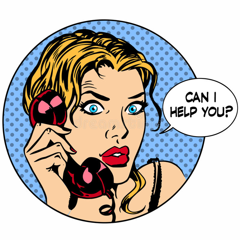 Η τηλεφωνική γυναίκα επικοινωνίας είπε ότι μπορώ να σας βοηθήσω απεικόνιση αποθεμάτων
