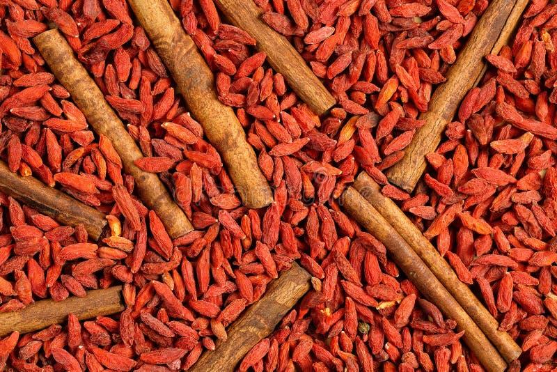 Η τοπ άποψη, επίπεδη βάζει των ξηρών bearrberies φρούτων μούρων goji και των ραβδιών κανέλας Μακρο υπόβαθρο σύστασης τροφίμων στοκ φωτογραφία