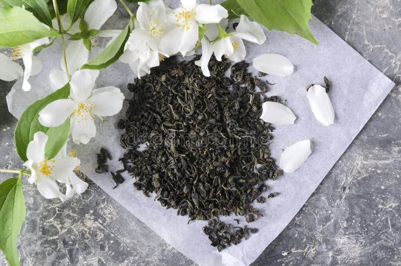 Η τοπ άποψη τα πέταλα τσαγιού και jasmine στο άσπρο κομμάτι χαρτί, γκρίζος πίνακας στοκ εικόνες με δικαίωμα ελεύθερης χρήσης