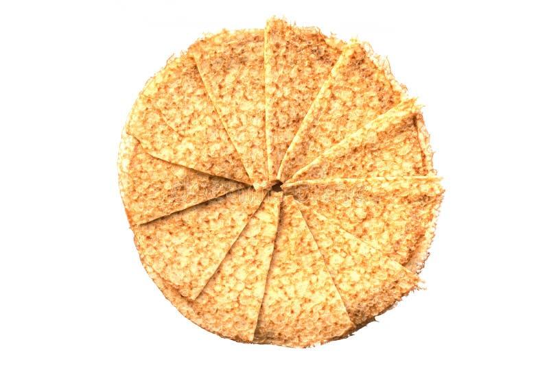 Η τοπ άποψη crepes οι γαλλικές τηγανίτες που διπλώνονται στον κύκλο, που απομονώνεται στο λευκό στοκ φωτογραφία