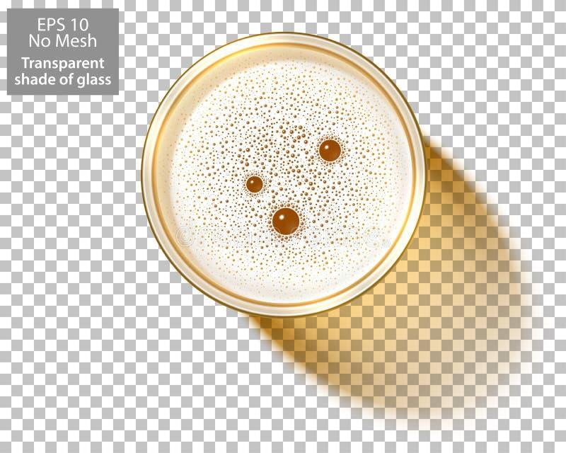 Η τοπ άποψη Oktoberfest αφρού κουπών γυαλιού μπύρας απομόνωσε το διαφανές υπόβαθρο διανυσματική απεικόνιση