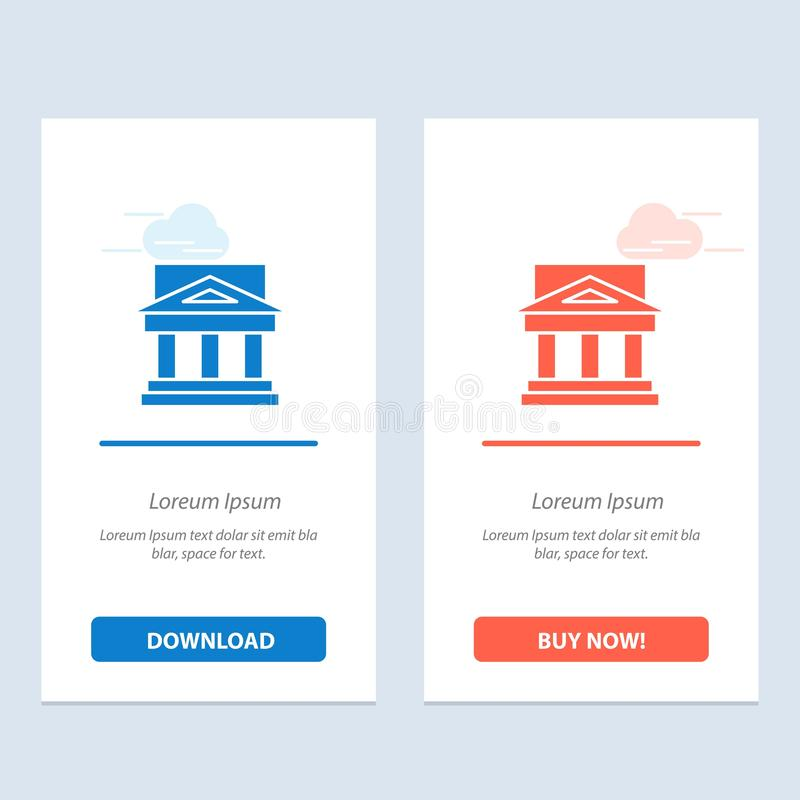 Η τράπεζα, η αρχιτεκτονική, το κτήριο, το δικαστήριο, το κτήμα, η κυβέρνηση, το σπίτι, η ιδιοκτησία μπλε και το κόκκινο μεταφορτώ διανυσματική απεικόνιση