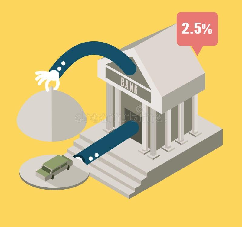 Η τράπεζα εξυπηρετεί ένα αυτοκίνητο σχέδιο επιχειρησιακής έννοιας ελεύθερη απεικόνιση δικαιώματος