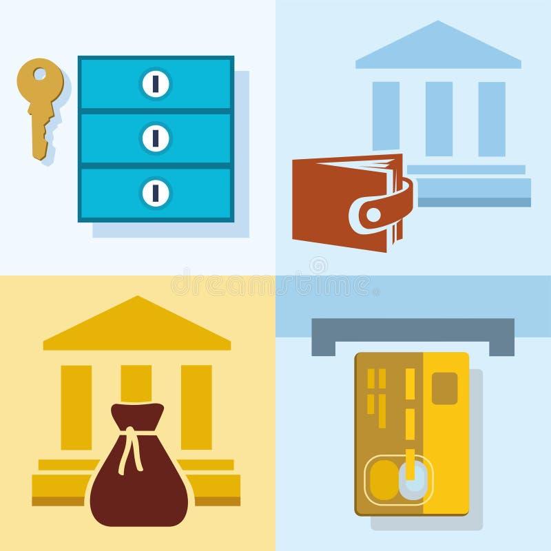 Η τράπεζα, χρηματοδότηση, αποταμίευση, πιστωτικές κάρτες, ασφαλή κιβώτια κατάθεσης, χρωμάτισε, επίπεδες απεικονίσεις, εικονίδια ελεύθερη απεικόνιση δικαιώματος
