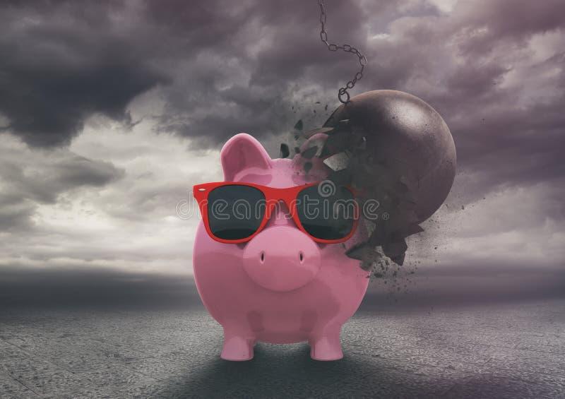 Η τράπεζα Piggy αντιστέκεται σε μια σφαίρα κατεδάφισης κατά τη διάρκεια μιας θύελλας Αξιόπιστο και ασφαλές οικονομικό προϊόν απεικόνιση αποθεμάτων