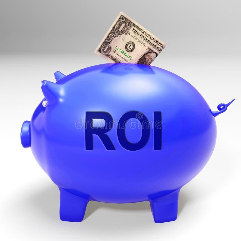 Η τράπεζα ROI Piggy σημαίνει την επιστροφή και το εισόδημα επενδυτών διανυσματική απεικόνιση