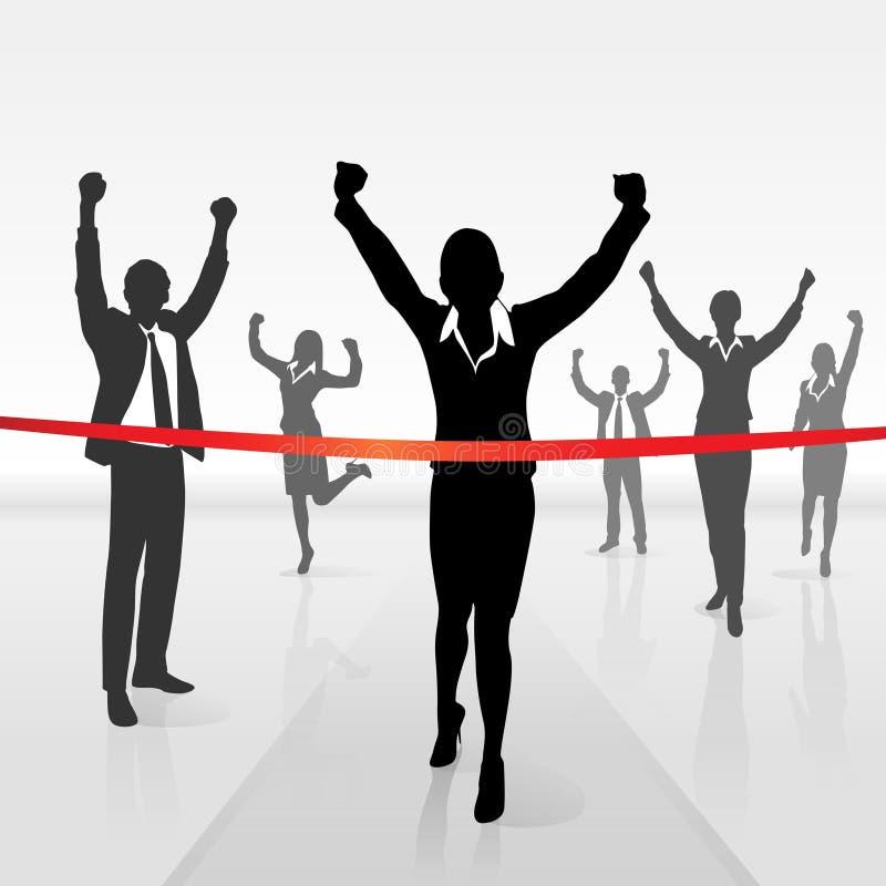 Η τρέχοντας επιχειρηματίας που διασχίζει τη γραμμή τερματισμού κερδίζει διανυσματική απεικόνιση