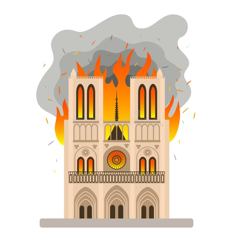 Η τραγική πυρκαγιά στις θέες της Παναγίας των Παρισίων Φλόγα στον καθεδρικό ναό της κυρίας μας επίπεδη απεικόνιση διανυσματική απεικόνιση