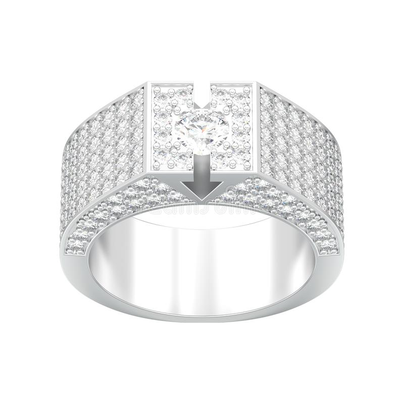 η τρισδιάστατη απεικόνιση απομόνωσε το άσπρο χρυσό ή ασημένιο διαμάντι signet rin διανυσματική απεικόνιση