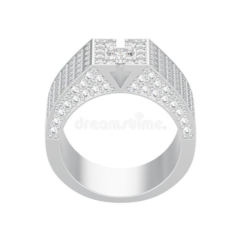 η τρισδιάστατη απεικόνιση απομόνωσε το άσπρο χρυσό ή ασημένιο διαμάντι signet rin απεικόνιση αποθεμάτων