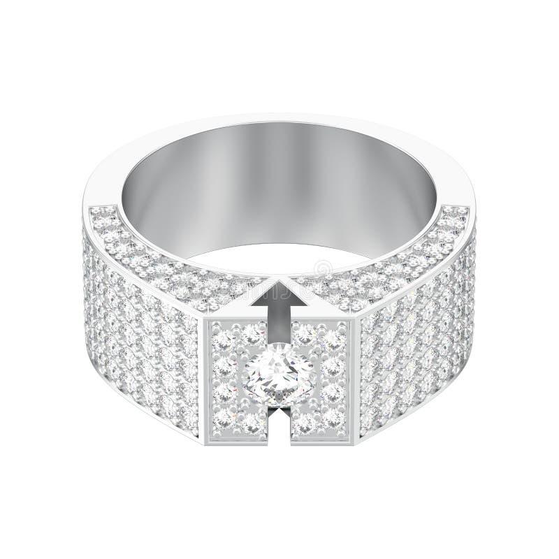 η τρισδιάστατη απεικόνιση απομόνωσε το άσπρο χρυσό ή ασημένιο διαμάντι signet rin ελεύθερη απεικόνιση δικαιώματος