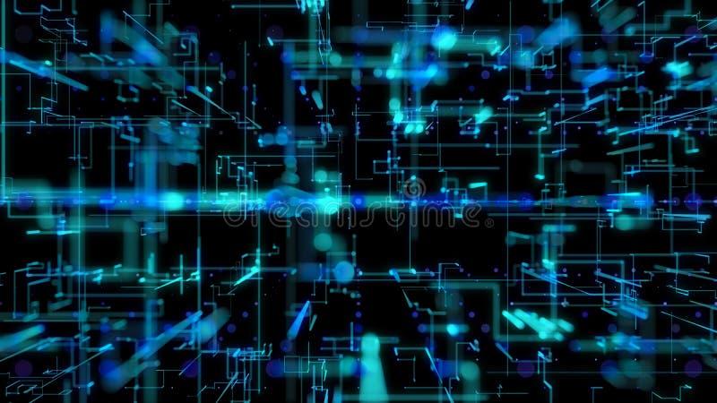 η τρισδιάστατη απεικόνιση, τρισδιάστατη απόδοση, αφαιρεί το γεωμετρικό υπόβαθρο, την μπλε γραμμή και την τεχνολογία Bokeh, αρχιτε ελεύθερη απεικόνιση δικαιώματος
