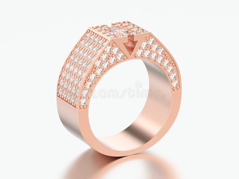 η τρισδιάστατη απεικόνιση αυξήθηκε χρυσό δαχτυλίδι διαμαντιών signet διανυσματική απεικόνιση