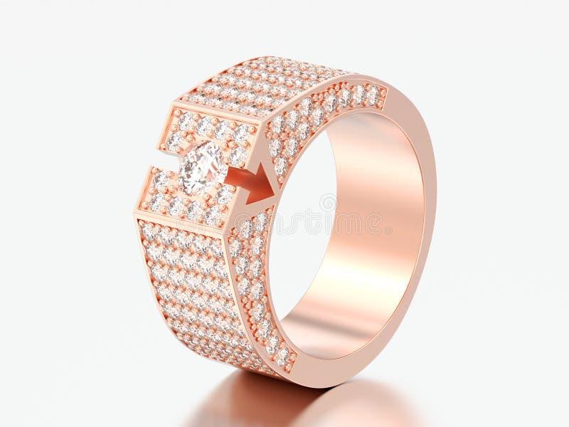 η τρισδιάστατη απεικόνιση αυξήθηκε χρυσό δαχτυλίδι διαμαντιών signet ελεύθερη απεικόνιση δικαιώματος
