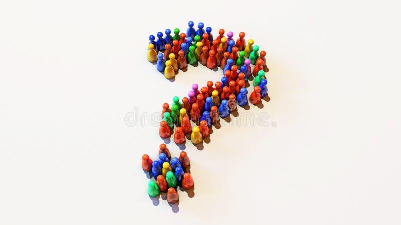 η τρισδιάστατη απεικόνιση βάζει ενέχυρο Colourfully τη στάση σε ένα άσπρο υπόβαθρο σε μια μορφή του ερωτηματικού ελεύθερη απεικόνιση δικαιώματος