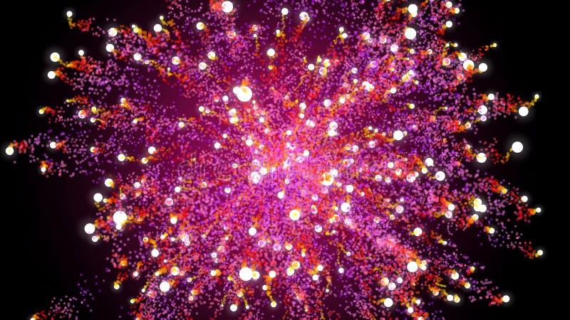 η τρισδιάστατη απεικόνιση, ο κύκλος σφαιρών, μικρή σφαίρα, ελευθερία κινήσεων ξεσπά από το κέντρο και αφήνει τα μόρια που διαδίδο ελεύθερη απεικόνιση δικαιώματος