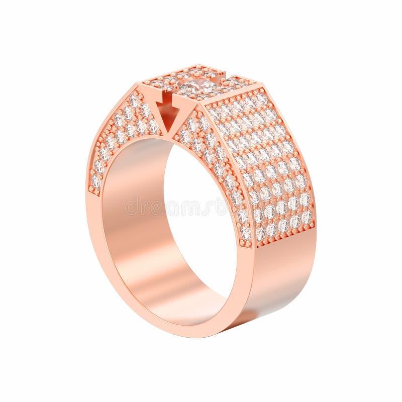 η τρισδιάστατη απεικόνιση που απομονώθηκε αυξήθηκε χρυσό δαχτυλίδι διαμαντιών signet διανυσματική απεικόνιση
