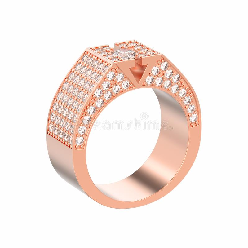η τρισδιάστατη απεικόνιση που απομονώθηκε αυξήθηκε χρυσό δαχτυλίδι διαμαντιών signet απεικόνιση αποθεμάτων