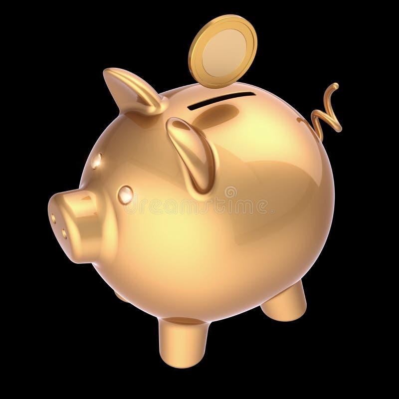η τρισδιάστατη απεικόνιση της piggy τράπεζας και το νόμισμα χρυσό επενδύουν το πλούσιο σύμβολο απεικόνιση αποθεμάτων