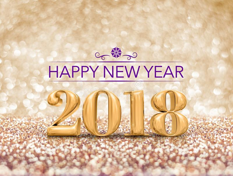 Η τρισδιάστατη απόδοση αριθμού έτους καλής χρονιάς το 2018 στο σπινθήρισμα πηγαίνει στοκ εικόνες