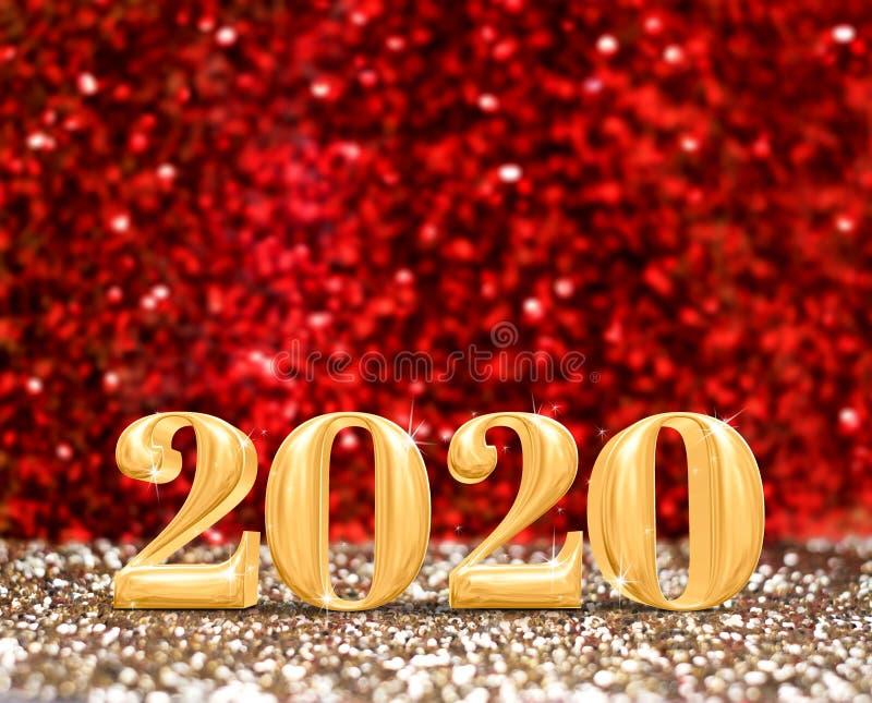 Η τρισδιάστατη απόδοση αριθμού έτους καλής χρονιάς το 2020 στο λαμπιρίζοντας χρυσό και το κόκκινο ακτινοβολούν υπόβαθρο στούντιο, στοκ φωτογραφίες