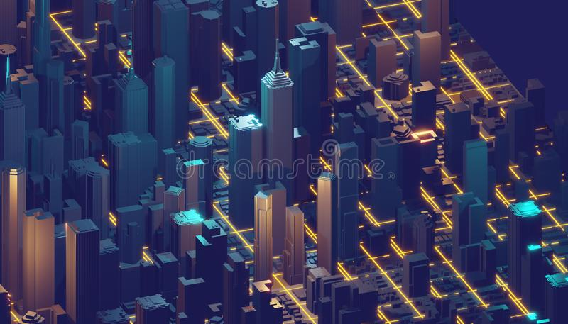 η τρισδιάστατη απόδοση, αφαιρεί το ψηφιακό υπόβαθρο, μεγάλα στοιχεία, κβαντικό δίκτυο υπολογιστών, cyber πόλη διανυσματική απεικόνιση