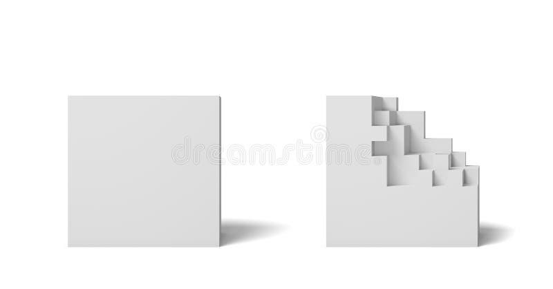 η τρισδιάστατη απόδοση δύο απομόνωσε τα άσπρα τετράγωνα ένα τέλεια και το σύνολο και ένα άλλο μισό που έσπασαν διανυσματική απεικόνιση