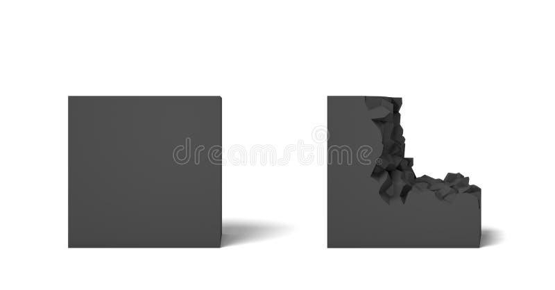 η τρισδιάστατη απόδοση δύο απομόνωσε τα μαύρα τετράγωνα ένα τέλεια και το σύνολο και ένα άλλο μισό που έσπασαν ελεύθερη απεικόνιση δικαιώματος