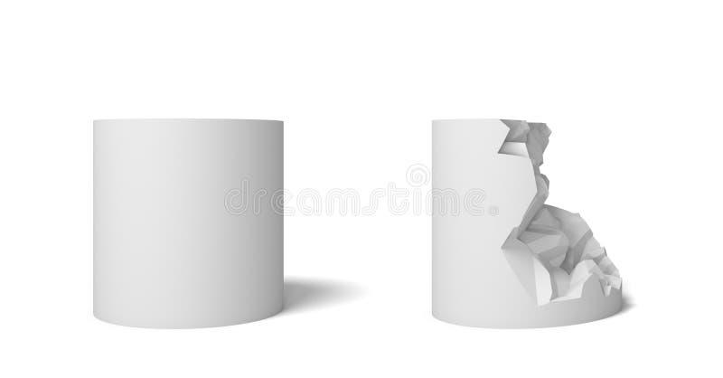 η τρισδιάστατη απόδοση δύο απομόνωσε τον άσπρο κύλινδρο ένα τέλειο και το σύνολο και ένα άλλο μισό που έσπασαν διανυσματική απεικόνιση