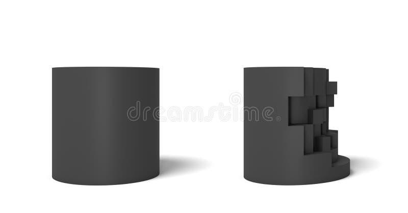 η τρισδιάστατη απόδοση δύο απομόνωσε το μαύρο κύλινδρο ένα τέλειο και το σύνολο και ένα άλλο μισό που έσπασαν απεικόνιση αποθεμάτων