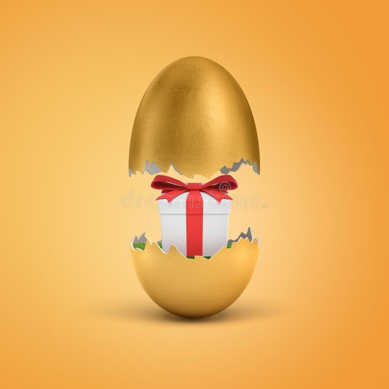η τρισδιάστατη απόδοση ενός χρυσού κοχυλιού αυγών που έσπασαν στα μισά με ένα άσπρο κιβώτιο δώρων έδεσε με μια κόκκινη κορδέλλα μ απεικόνιση αποθεμάτων