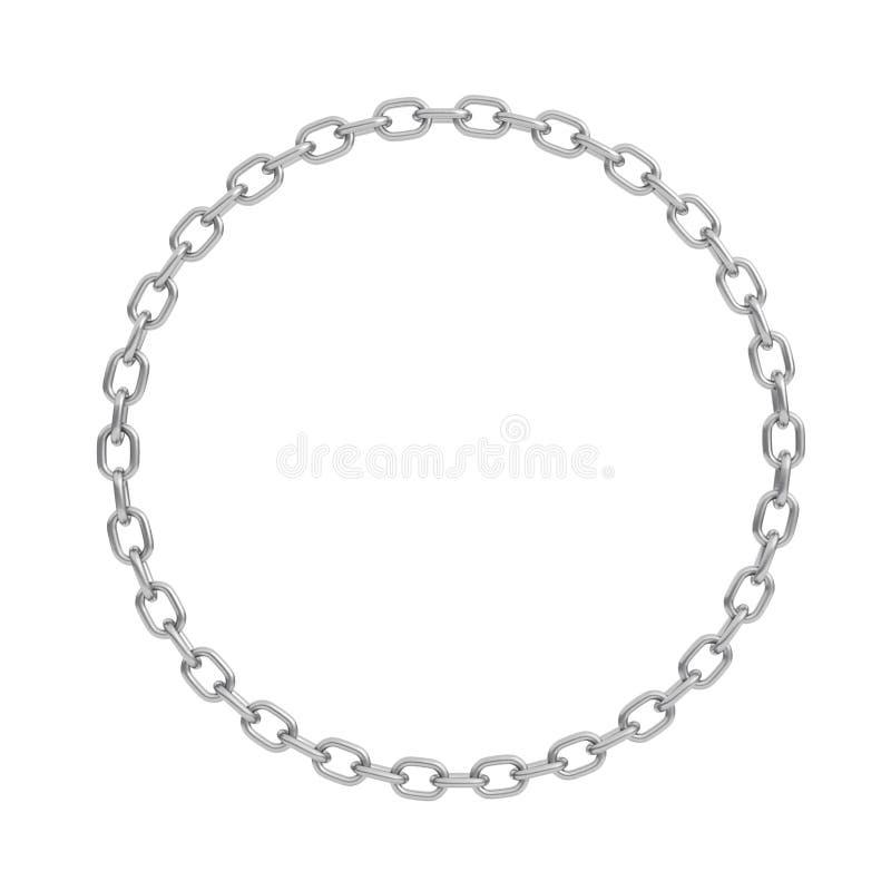 η τρισδιάστατη απόδοση μιας γυαλισμένης αλυσίδας χάλυβα έκανε στη μορφή ενός τέλειου κύκλου σε ένα άσπρο υπόβαθρο ελεύθερη απεικόνιση δικαιώματος