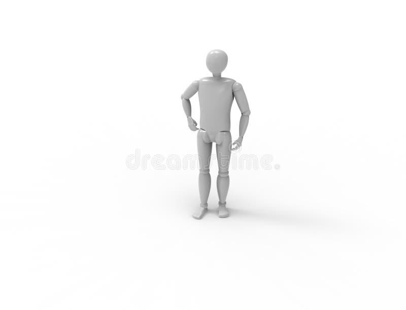 η τρισδιάστατη απόδοση μιας πλαστής στάσης που θέτει είναι άσπρο υπόβαθρο στούντιο απεικόνιση αποθεμάτων