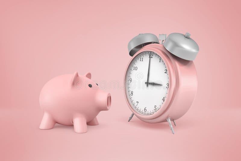 η τρισδιάστατη απόδοση της ρόδινης piggy τράπεζας στέκεται κοντά στο τεράστιο ρόδινο αναδρομικό ξυπνητήρι σε ένα ρόδινο υπόβαθρο στοκ εικόνα