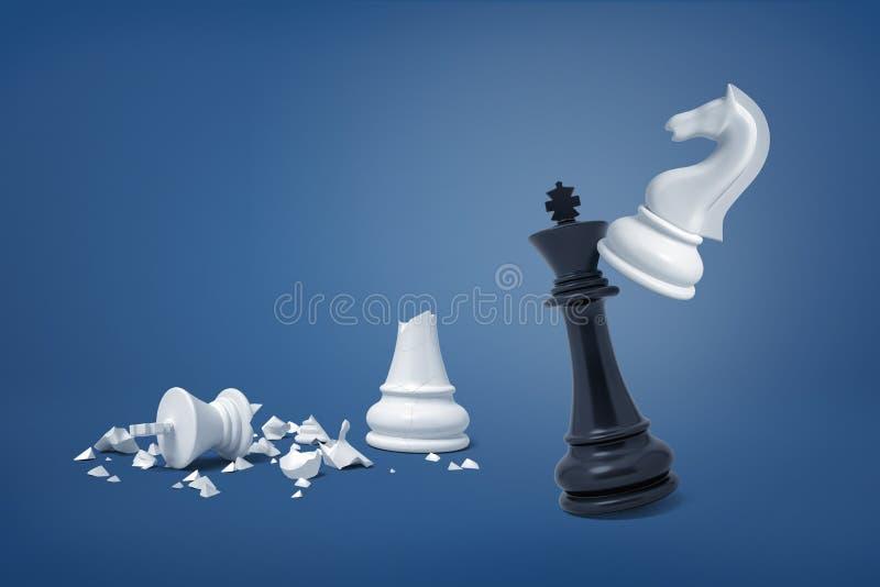 η τρισδιάστατη απόδοση του λευκού ιππότη σκακιού χτυπά σπασμένα κομμάτια τα μαύρα βασιλιάδων πλησίον ενός λευκού βασιλιά στοκ εικόνες