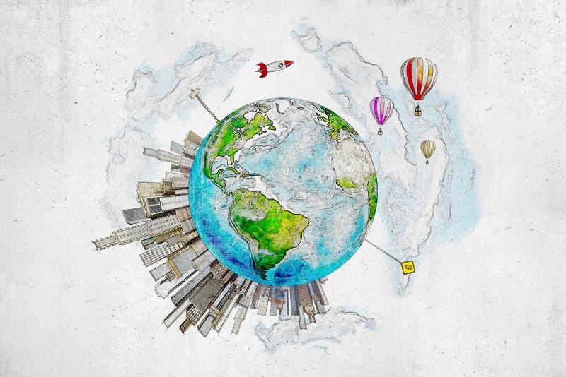 η τρισδιάστατη απόδοση του χεριού που σύρθηκε χρωμάτισε τη γήινη σφαίρα με τα κτήρια πόλεων, τα μπαλόνια αέρα και έναν διαστημικό διανυσματική απεικόνιση