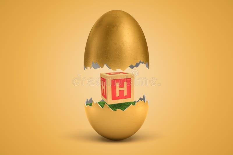 η τρισδιάστατη απόδοση του χρυσού αυγού ράγισε σε δύο, ανώτερος - κατά το ήμισυ levitating στον αέρα, χαμηλότερο στο έδαφος, με τ ελεύθερη απεικόνιση δικαιώματος