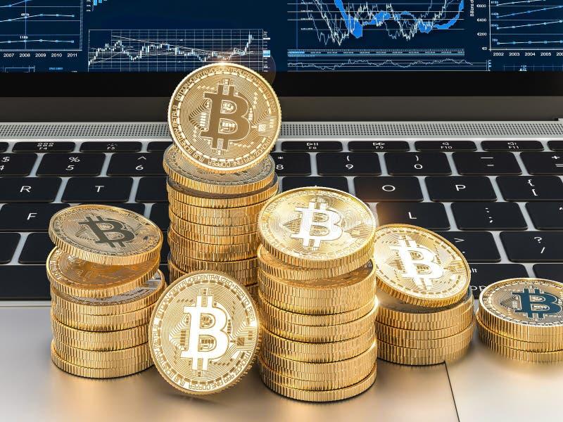 η τρισδιάστατη εικόνα δίνει των χρυσών νομισμάτων bitcoin στο σύγχρονο lap-top ελεύθερη απεικόνιση δικαιώματος