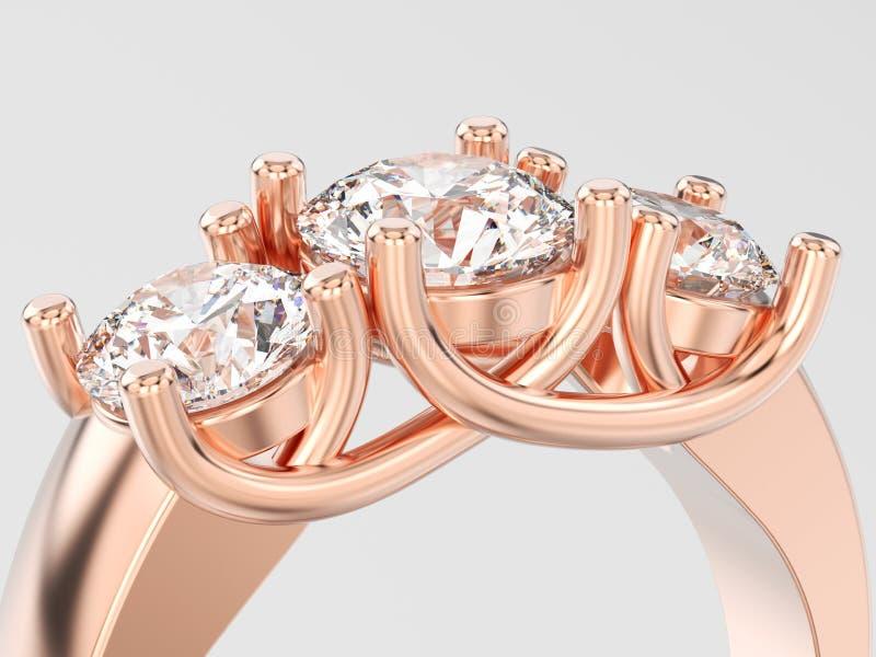 η τρισδιάστατη κινηματογράφηση σε πρώτο πλάνο απεικόνισης αυξήθηκε χρυσό δαχτυλίδι τριών διαμαντιών πετρών απεικόνιση αποθεμάτων