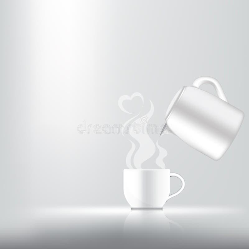 η τρισδιάστατη χλεύη επάνω ρεαλιστική ένα φλιτζάνι του καφέ, ένα τσάι ή ένα καυτό γάλα για το προϊόν ποτών με την καρδιά καπνίζει απεικόνιση αποθεμάτων