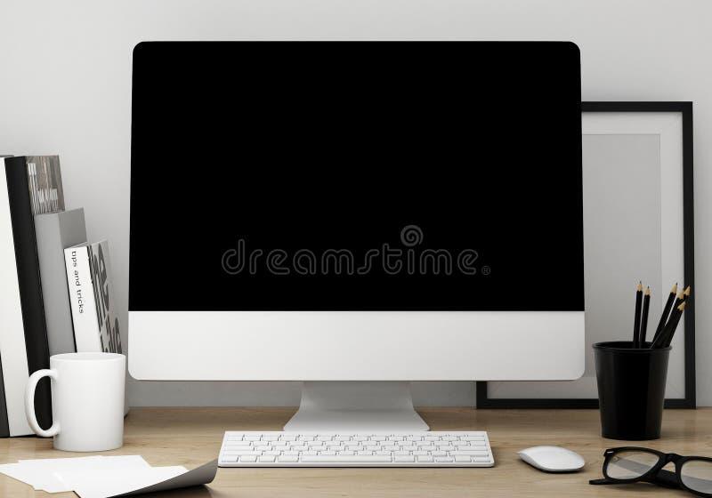 η τρισδιάστατη απεικόνιση του σύγχρονου προτύπου χώρου εργασίας οθόνης, χλευάζει επάνω το υπόβαθρο διανυσματική απεικόνιση