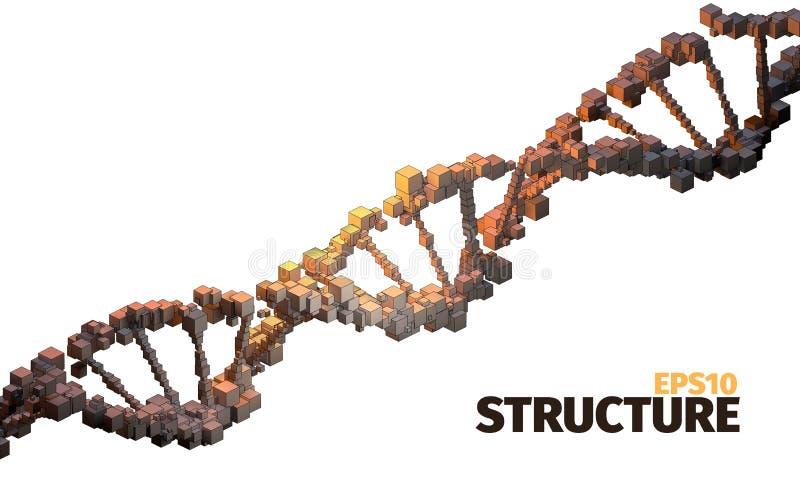 η τρισδιάστατη απεικόνιση DNA δίνει τη δομή τρισδιάστατη αφηρημένη ανασκόπηση Στοιχεία κύβων Στοιχείο επιστήμης διανυσματική απεικόνιση