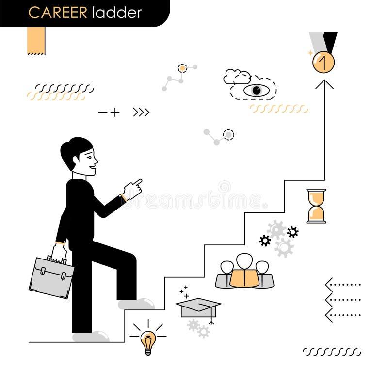 η τρισδιάστατη απομονωμένη εδραίωση θέσης σκάλα δίνει το λευκό διάλυσης Κίνηση έννοιας επάνω η σκάλα σταδιοδρομίας Στάδια tran απεικόνιση αποθεμάτων