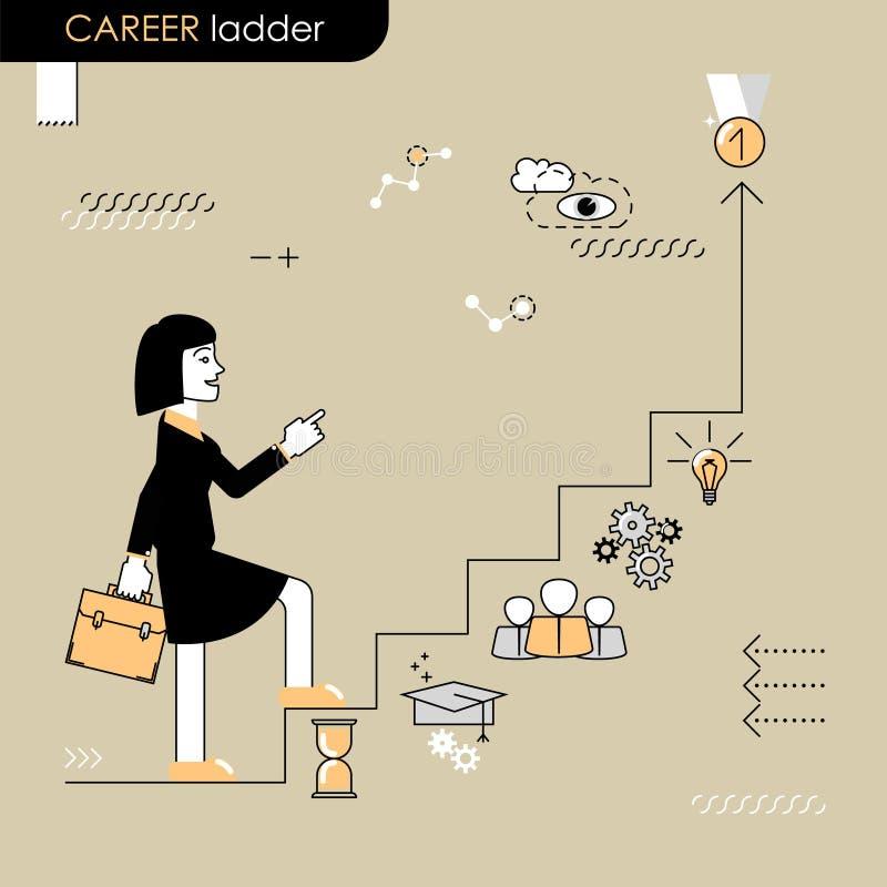 η τρισδιάστατη απομονωμένη εδραίωση θέσης σκάλα δίνει το λευκό διάλυσης Επιχειρησιακή γυναίκα που περπατά στη σκάλα σταδιοδρομίας διανυσματική απεικόνιση