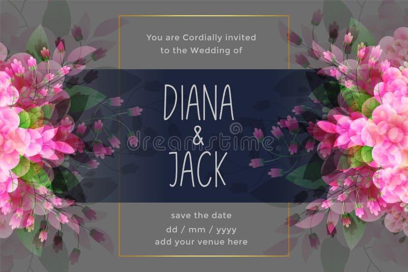 Η τρομερή κάρτα γαμήλιας πρόσκλησης με το λουλούδι ακμάζει τη διακόσμηση ελεύθερη απεικόνιση δικαιώματος