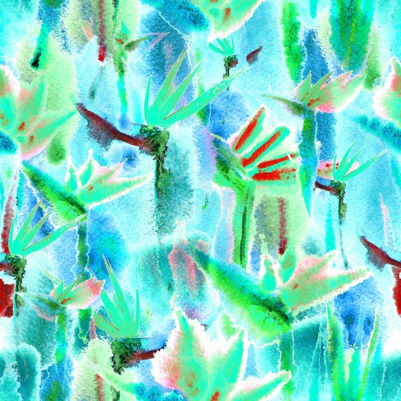 Η τροπική χρωστική ουσία δεσμών watercolor τυπωμένων υλών σχεδίων ζουγκλών άνευ ραφής ατελείωτη επαναλαμβάνει την κρητιδογραφία λ απεικόνιση αποθεμάτων